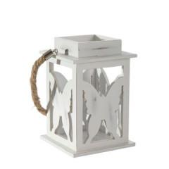 Lampion dekoracyjny drewniany biały 21 cm - 13 X 13 X 21 cm - biały 1