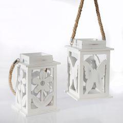 Lampion dekoracyjny drewniany biały 21 cm - 13 X 13 X 21 cm - biały 2