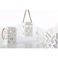 Lampion dekoracyjny drewniany biały 21 cm - 13 X 13 X 21 cm - biały 4