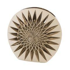 Wazon dekoracyjny porcelana stare złoto porcelana 38 cm - 37 X 14 X 38 cm - złoty/kremowy 1