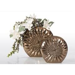 Wazon dekoracyjny porcelana stare złoto porcelana 38 cm - 37 X 14 X 38 cm - złoty/kremowy 3