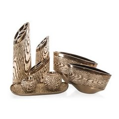 Wazon ceramiczny wytłaczany złoty 19 cm - 30 X 9 X 19 cm - złoty 3