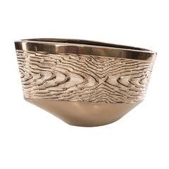 Wazon ceramiczny złoty struktura drewna 25 cm - 36 X 13 X 25 cm - złoty 1