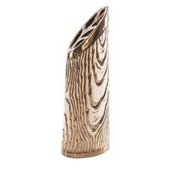 Wazon ceramiczny złoty struktura drewna 48 cm - 18 X 11 X 48 cm - złoty 1