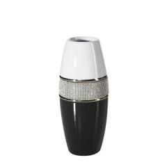 Świecznik ceramiczny biało-czarny z kryształkami glamou - ∅ 11 X 27 cm - biały/czarny 1
