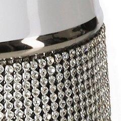Świecznik ceramiczny biało-czarny z kryształkami glamou - ∅ 11 X 27 cm - biały/czarny 4