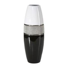 Świecznik ceramiczny biało-czarny z kryształkami glamou - 16 X 47 cm - biały/czarny 1