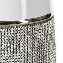 Świecznik ceramiczny biało-czarny z kryształkami glamou - 16 X 47 cm - biały/czarny 4