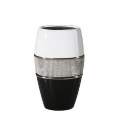 Świecznik ceramiczny biało-czarny z kryształkami glamou - ∅ 14 X 25 cm - biały/czarny 1