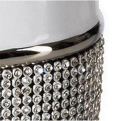 Świecznik ceramiczny biało-czarny z kryształkami glamou - ∅ 14 X 25 cm - biały/czarny 4