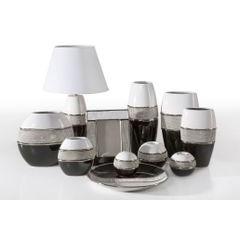 Świecznik ceramiczny biało-czarny z kryształkami glamou - ∅ 14 X 25 cm - biały/czarny 2