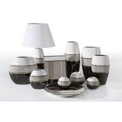 Świecznik ceramiczny biało-czarny z kryształkami glamou - ∅ 14 X 25 cm - biały/czarny 3