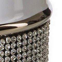 Świecznik ceramiczny biało-czarny z kryształkami glamou - 17 X 11 X 30 cm - biały/czarny 4