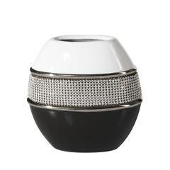 Świecznik ceramiczny biało-czarny z kryształkami glamou - 15 X 8 X 16 cm - biały/czarny 1
