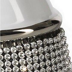 Świecznik ceramiczny biało-czarny z kryształkami glamou - 15 X 8 X 16 cm - biały/czarny 4