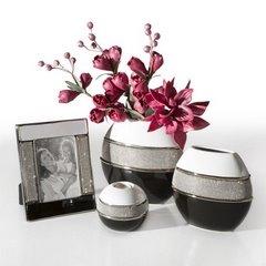 Świecznik ceramiczny biało-czarny z kryształkami glamou - 15 X 8 X 16 cm - biały/czarny 5