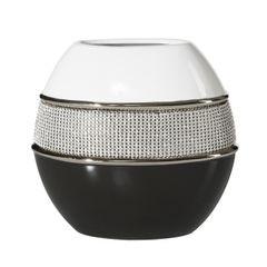 Świecznik ceramiczny biało-czarny z kryształkami glamou - 21 X 11 X 21 cm - biały/czarny 1