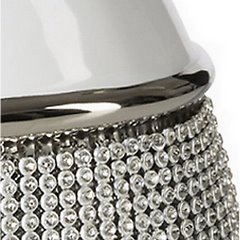 Świecznik ceramiczny biało-czarny z kryształkami glamou - 21 X 11 X 21 cm - biały/czarny 5