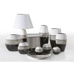 Świecznik ceramiczny biało-czarny z kryształkami glamou - 21 X 11 X 21 cm - biały/czarny 4