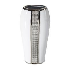 Wazon ceramiczny z pasem kryształów 30 cm - 15 X 9 X 30 cm - biały/srebrny 1