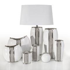 Wazon ceramiczny z pasem kryształów 30 cm - 15 X 9 X 30 cm - biały/srebrny 2