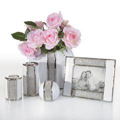 Wazon ceramiczny z pasem kryształów 30 cm - 15 X 9 X 30 cm - biały/srebrny 3