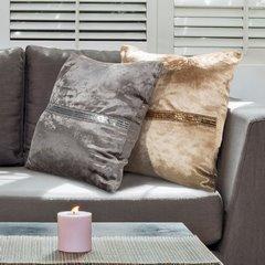 Poszewka na poduszkę kremowa ze srebrnym paskiem 40 x 40 cm  - 40 X 40 cm - ecru/biały 6
