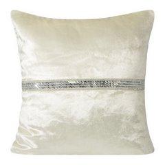 Poszewka na poduszkę kremowa ze srebrnym paskiem 40 x 40 cm  - 40x40 - kremowy 1