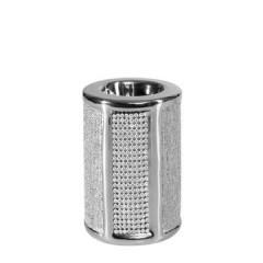 Świecznik ceramiczny z pasem kryształów 10 cm - ∅ 8 X 10 cm - srebrny 1