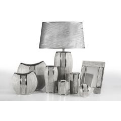 Świecznik ceramiczny z pasem kryształów 10 cm - ∅ 8 X 10 cm - srebrny 2