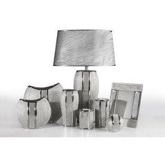 Świecznik ceramiczny z pasem kryształów 10 cm - ∅ 8 X 10 cm - srebrny 3