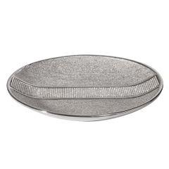 Patera ceramiczna z pasem kryształów 30 cm - ∅ 31 X 4 cm - srebrny 1