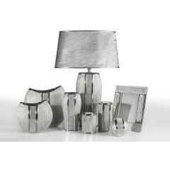 Patera ceramiczna z pasem kryształów 30 cm - ∅ 31 X 4 cm - srebrny 2