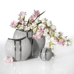 Patera ceramiczna z pasem kryształów 30 cm - ∅ 31 X 4 cm - srebrny 3