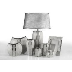 Patera ceramiczna z pasem kryształów 30 cm - ∅ 31 X 4 cm - srebrny 4