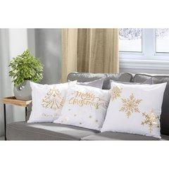 Poszewka na poduszkę biało złota płatek śniegu 40 x 40 cm  - 40 X 40 cm - kremowy/złoty 4