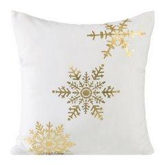 Poszewka na poduszkę biało złota płatek śniegu 40 x 40 cm  - 40 X 40 cm - kremowy/złoty 1
