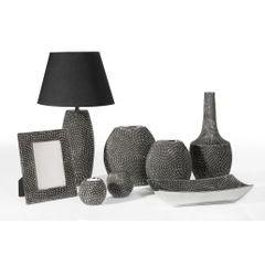 Wazon ceramiczny o wytłaczanej powierzchni 34 cm - ∅ 16 X 34 cm - grafitowy/srebrny 2