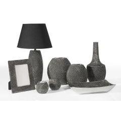 Wazon ceramiczny o wytłaczanej powierzchni 34 cm - ∅ 16 X 34 cm - grafitowy/srebrny 3