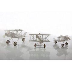 Figurka dekoracyjna samolot drewno 13 x 15 x 9 cm - 13 X 15 X 9 cm - biały 2