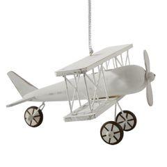Figurka dekoracyjna samolot drewno 16 x 19 x 10 cm - 16 X 19 X 10 cm - biały 1