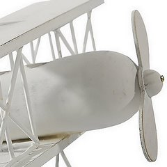 Figurka dekoracyjna samolot drewno 16 x 19 x 10 cm - 16 X 19 X 10 cm - biały 5