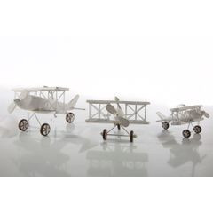 Figurka dekoracyjna samolot drewno 16 x 19 x 10 cm - 16 X 19 X 10 cm - biały 2