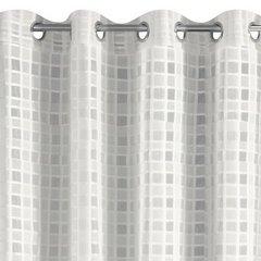 Kremowa zasłona w srebrną kratę na przelotkach 140x250 cm - 140 X 250 cm - kremowy 6