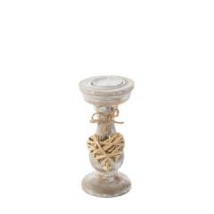 Świecznik eco przecierane drewno zawieszka serce 14 cm - ∅ 7 X 14 cm - naturalny 1