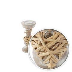 Świecznik eco przecierane drewno zawieszka serce 14 cm - ∅ 7 X 14 cm - naturalny 4