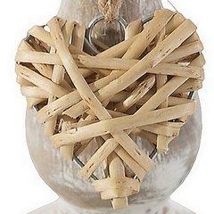 Świecznik eco przecierane drewno zawieszka serce 14 cm - ∅ 7 X 14 cm - naturalny 5