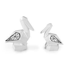 Figurka dekoracyjna pelikan biały geometryczny 21 cm - 19 X 11 X 21 - biały/czarny 2