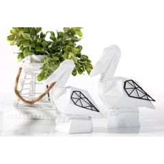 Figurka dekoracyjna pelikan biały geometryczny 21 cm - 19 X 11 X 21 - biały/czarny 3