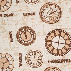 Zasłona motyw zegarów retro drukowana przelotki 140x250cm - 140x250 - kremowy / brązowy 3